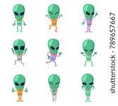funny cartoon aliens vector... | Shutterstock .eps vector #789657667