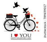 valentines card. birds in love... | Shutterstock .eps vector #789659017