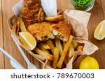 peas  lemons  fish and fries.... | Shutterstock . vector #789670003