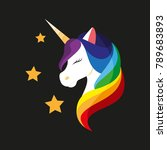 unicorn with closed eyes.... | Shutterstock .eps vector #789683893
