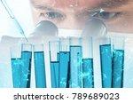 double exposure of scientist or ... | Shutterstock . vector #789689023
