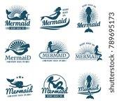 mermaid silhouette stylized... | Shutterstock .eps vector #789695173