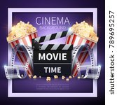 cinema vector poster. online... | Shutterstock .eps vector #789695257