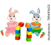 bunnies with cubes on white... | Shutterstock .eps vector #789695623