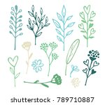 hand drawn doodle floral... | Shutterstock .eps vector #789710887