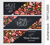 gastronomic meat products with... | Shutterstock .eps vector #789712003