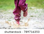 children in rubber boots and...   Shutterstock . vector #789716353