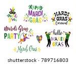 mardi gras. big set of vector... | Shutterstock .eps vector #789716803