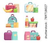 kids snacks. school lunch boxes ... | Shutterstock .eps vector #789718027