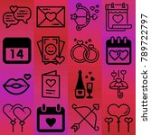 valentine's day vector icon set ... | Shutterstock .eps vector #789722797