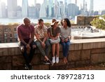friends visiting new york with... | Shutterstock . vector #789728713