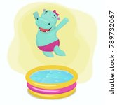 happy hippo girl jumping into... | Shutterstock .eps vector #789732067