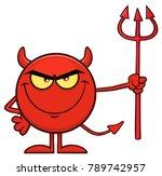 red devil cartoon emoji... | Shutterstock .eps vector #789742957