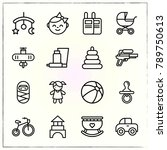 baby line icons set... | Shutterstock .eps vector #789750613
