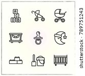 baby line icons set crib and...   Shutterstock .eps vector #789751243