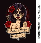 chicano tattoo girl. tattoo... | Shutterstock .eps vector #789758287