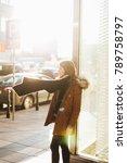 fashion model on street.... | Shutterstock . vector #789758797