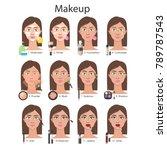 make up tutorial. applying... | Shutterstock . vector #789787543