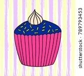 vector cupcake illustration.... | Shutterstock .eps vector #789793453