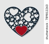 solid color paper cut heart... | Shutterstock .eps vector #789812263