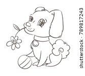 happy golden cartoon puppy.... | Shutterstock . vector #789817243