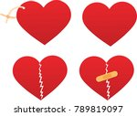 set of red hearts. label heart. ... | Shutterstock .eps vector #789819097
