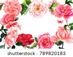 floral frame with hand drawn... | Shutterstock . vector #789820183
