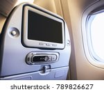 airplane seats blank screen... | Shutterstock . vector #789826627