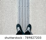 man standing on blind pathway... | Shutterstock . vector #789827203