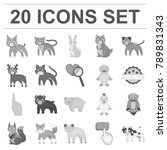 toy animals monochrome icons in ... | Shutterstock .eps vector #789831343