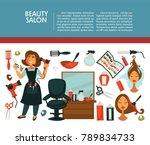 woman hairdresser beauty salon... | Shutterstock .eps vector #789834733