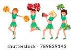 cheerleader girls vector. in... | Shutterstock .eps vector #789839143