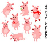 set of funny and cute pigs.... | Shutterstock .eps vector #789843133