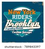 vector retro new york racing... | Shutterstock .eps vector #789843397