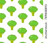 seamless pattern with broccoli...   Shutterstock .eps vector #789848893