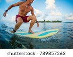 young man surfer rides the... | Shutterstock . vector #789857263