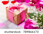 beautiful pink roses and gift... | Shutterstock . vector #789866173
