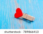 small wooden clothespin with... | Shutterstock . vector #789866413