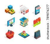 isometric icon set of online... | Shutterstock .eps vector #789876277