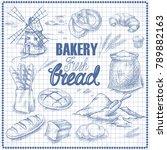 bread set. pen sketch converted ... | Shutterstock .eps vector #789882163