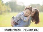 mother and son  in the field....   Shutterstock . vector #789885187