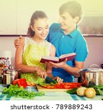 young family couple cooking... | Shutterstock . vector #789889243