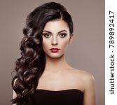 brunette woman with curly... | Shutterstock . vector #789892417