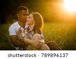 multi ethnic couple dating in... | Shutterstock . vector #789896137