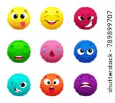 funny furry faces of monsters.... | Shutterstock .eps vector #789899707