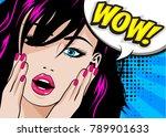 pop art woman wow sign. vector... | Shutterstock .eps vector #789901633