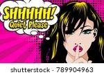 quiet please  pop art sign....   Shutterstock .eps vector #789904963