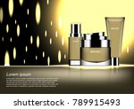 cosmetic set with glowing... | Shutterstock .eps vector #789915493