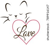 cat with heart on white... | Shutterstock .eps vector #789916147