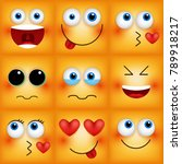 set of emoticons yellow faces.... | Shutterstock .eps vector #789918217